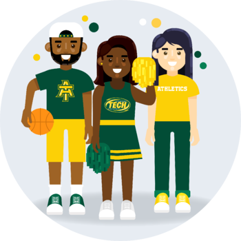 Athletes at Arkansas Tech University. A basketball player stands next to a cheerleader, who stands next to another person wearing an athletics shirt.