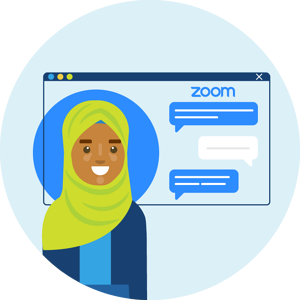 A woman have a zoom conversation